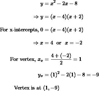 \begin{align*}y&=x^2-2x-8\\[10 pt]\Rightarrow y&=(x-4)(x+2)\\[10 pt]\text{For x-intercepts, }0&=(x-4)(x+2)\\[10 pt]\Rightarrow x&=4 \,\, \text{ or }\,\, x=-2\\[10 pt]\text{For vertex, }x_v&=\dfrac{4+(-2)}{2}=1\\[10 pt]y_v&=(1)^2-2(1)-8=-9\\[10 pt]\text{Vertex is at  }&(1,-9)\end{align}
